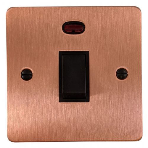 G&H FRG26B Flat Plate Rose Gold 1 Gang 20 Amp Double Pole Switch & Neon